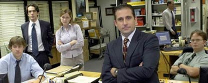 Michael Scott Sat On A Desk With Jim Halpert, Dwight Schrute, Ryan Howard And Pam Beesly