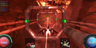 The player, speeding through a tunnel seemingly made of pipes