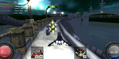 The player, racing round a very thin piece of track