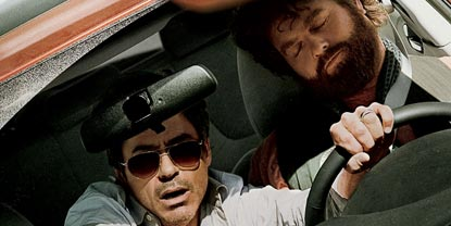 Peter Highman Played By Robert Downey Jr Sat In A Car Grabbing The Steering Wheel While Ethan Tremblay Played By Zach Galifianakis Is Sleeping In The Driver Seat