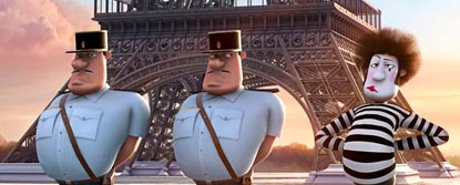 Two Animated Security Guards And A Mime Artists Stood Infront Of The Eiffel Tower