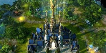 A castle, shining a bright light towards the sky