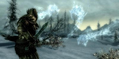 The player, faced by a trio of translucent floating creatures