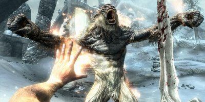 A first-person view of the player stood face-to-face with a frightening creature