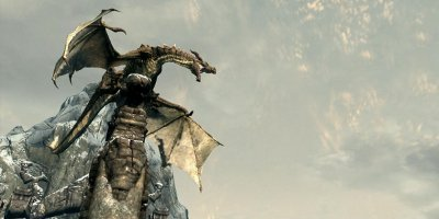 A dragon perched on a large stone pillar