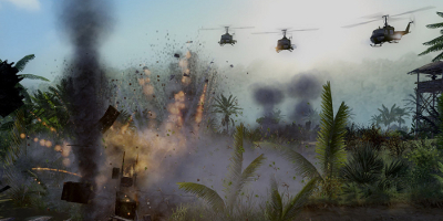 Three helicopters make light work of ground targets with their powerful weapons