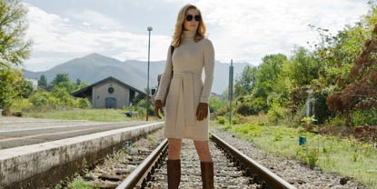 Mathilde Played By Thekla Reuten Stood in The Middle Of A Train Track