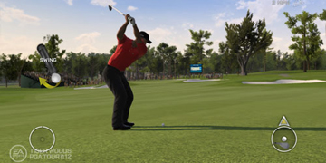Tiger Woods, half-way through a swing