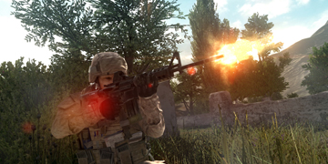 A soldier firing his weapon