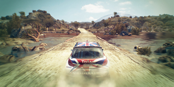 The player, racing a Peugeot 207 across a swampland environment