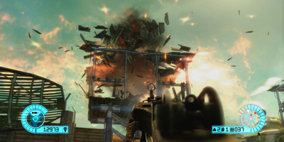 A player, looking on as a building is destroyed by an explosion