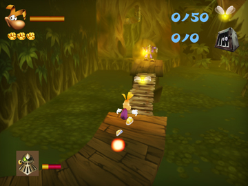 Rayman running across a wooden bridge
