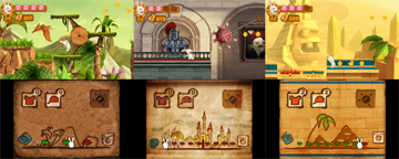 Three screenshots giving different examples of gameplay
