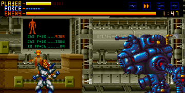 The player, taking on a large robotic enemy