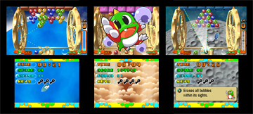 Three screenshots giving different examples of game-play