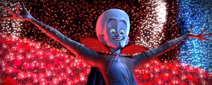 Megamind With Open Arms With A Red Background