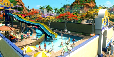 A water park, filled with visitors