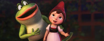 Animated Frog With It's Arm Around Juliet An Animated Garden Gnome