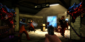 The player, approaching a gun-fight with a monster either side of them