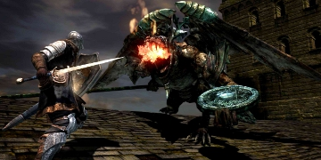 The player, up against a dragon-like enemy