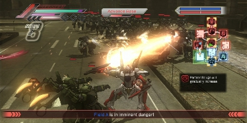 A large number of enemies approach the player