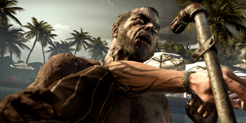 The player, fending off a zombie with some piping
