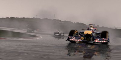 A Red Bull F1 Car, under-steering on the very wet track