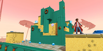 The player, in a 3D, green and yellow world