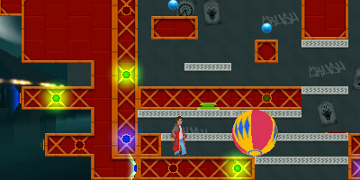 The player, on a 2D level made mostly of red scaffolding
