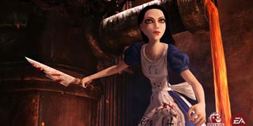 Alice, wielding a large knife
