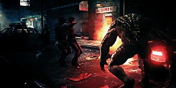A large, deformed zombie, walking towards a fire