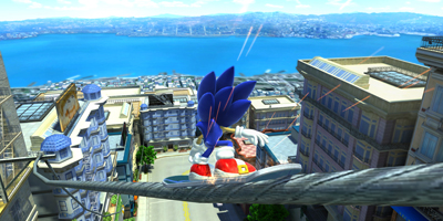 Sonic, grinding on a huge wire, on a board