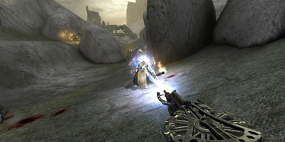 The player, firing a strange weapon at an enemy