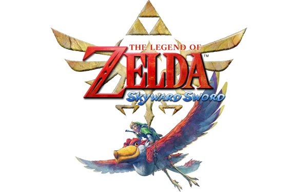 The Zelda: Skyward Sword logo, with link underneath it, on a large, flying creature