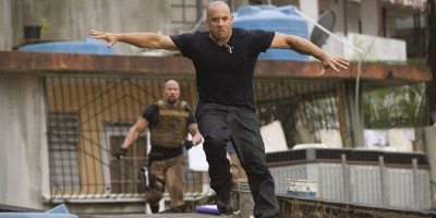 Hobbs and Toretto Jumping off Rooftop