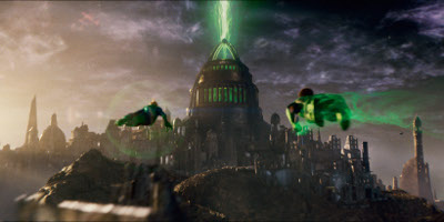 Green Lantern Flying Over City