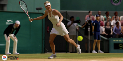 Woman tennis player about to hit the ball