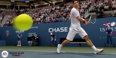 Tennis player hitting the ball