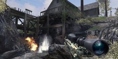A player wielding a sniper rifle, being fired at by and enemy