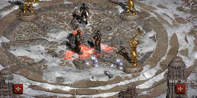 Multiple characters fighting near gold statues