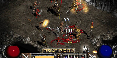 A large number of different monsters fighting in a dungeon