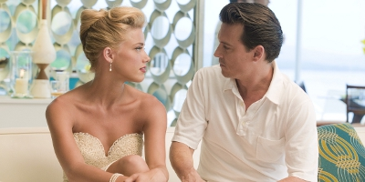 Still of Johnny Depp and Amber Heard