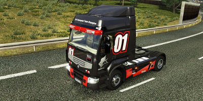 A truck painted in a racing colour scheme to celebrate Renault's success in the world truck racing series