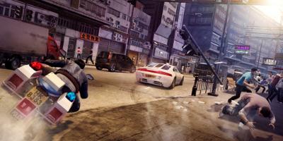 car and motor bike chase scene