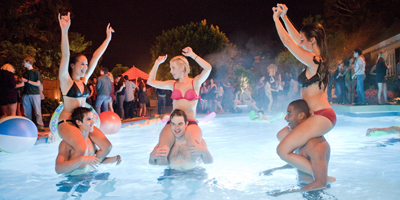 Teenagers Partying in Swimming Pool