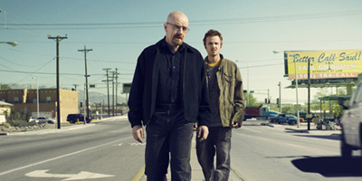 Walter and Jesse Walking Down the Road