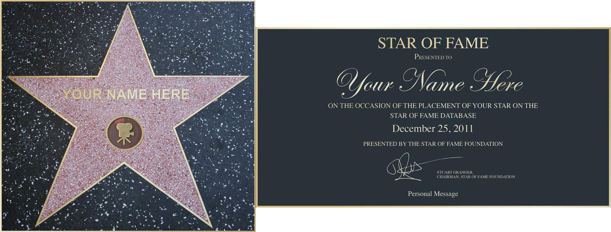 A 'Star of Fame' Award Personalised Poster Gift Pack