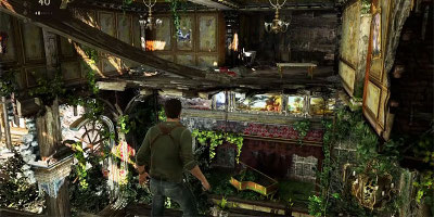 Nathan Drake, in an overgrown building