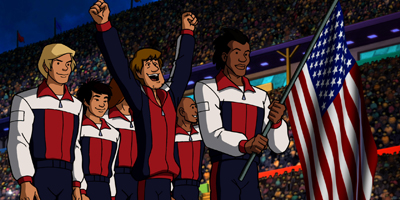 Shaggy and the Gang Holding the American Flag