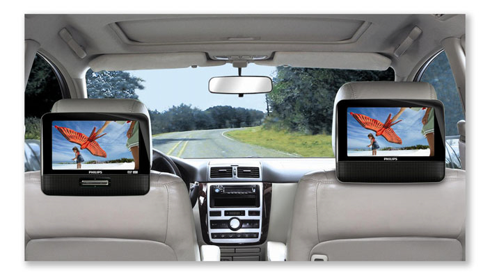 Philips PD7022/05 7 Inch Dual Screen DVD Player Back Seat View